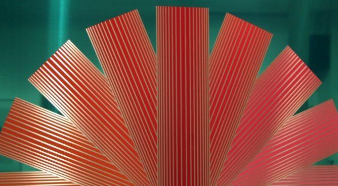 """Richard Anuszkiewicz, """"Rose Red Rainbow"""""""