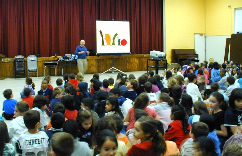 Filmmaker Ken Kimmelman conducting anti-prejudice workshop at a public school