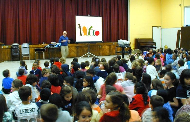 Filmmaker Ken Kimmelman conducting anti-prejudice workshop at a public school