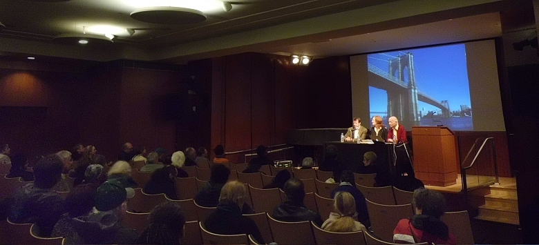 Talk bout the Brooklyn Bridge by John Stern, joined by Carrie Wilson, at a public library,