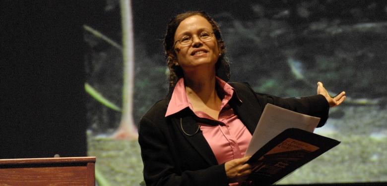 Elementary school teacher Monique Michael presents an anti-prejudice lesson at a college conference