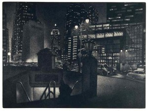 "William Behnken, ""Going Home,"" aquatint"