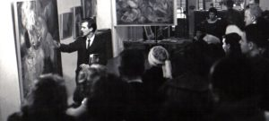 Chaim Koppelman giving talk based on his study of Aesthetic Realism at the Terrain Gallery, 1959