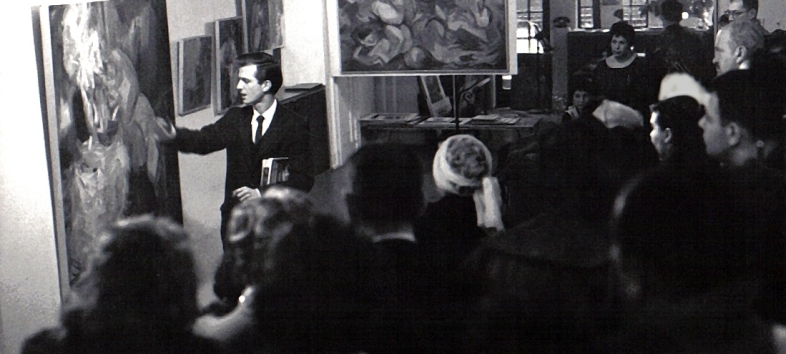 "From ""A Brief History"": Chaim Koppelman gives talk, Terrain Gallery, 1959"