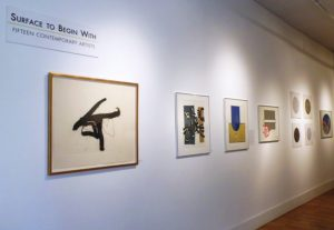 "Installation photo of Terrain Gallery show ""Surface to Begin With,"" with works by Robert Motherwell, Harold Krisel, James Juthstrom"