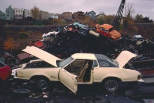 "Len Bernstein, ""Discarded Automobiles,"" color photograph"