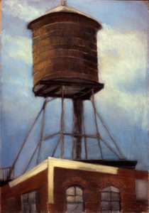 "Dorothy Koppelman, ""Water Tower and Sky,"" oil on canvas"