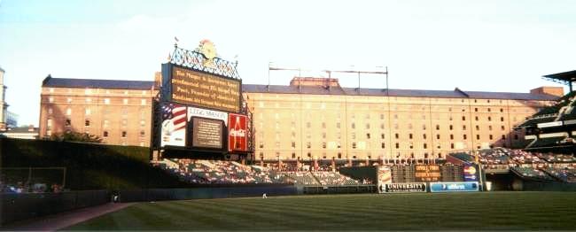 Baltimore's Camden Yards: jumbotron announcing Eli Siegel Day in 2002