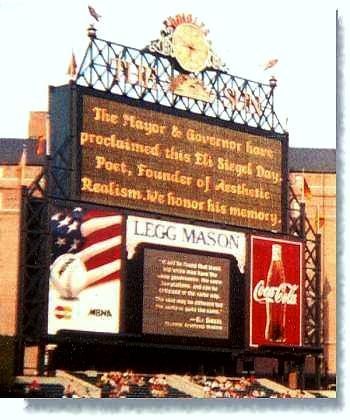 Eli Siegel Day announced in Camden Yards, close up of jumbotron in 2002