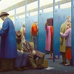"George Tooker, ""Waiting,"" from Terrain Gallery show ""Abstract/Concrete"""