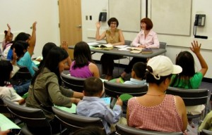 """""""Poetry Shows: We Can Honestly Like the World!"""" Class for children conducted by Margot Carpenter and Karen Van Outryve"""