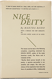 Nice Deity. Poems by Martha Baird