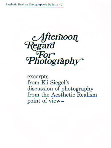 Afternoon Regard for Photography by Eli Siegel