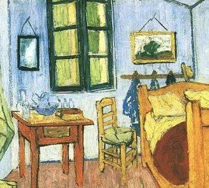 "Van Gogh ""Bedroom at Arles"" detail: back wall"