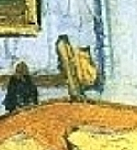 "Van Gogh ""Bedroom at Arles"" detail: hat"