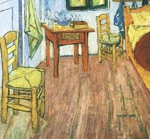 """Van Gogh's """"Bedroom at Arles,"""" two chairs detail"""