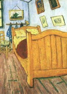 "Van Gogh ""Bedroom at Arles"" detail: bed"