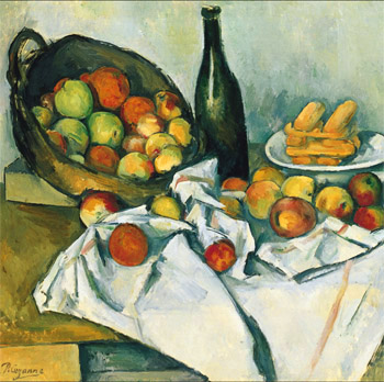 Cezanne still life with basket of apples