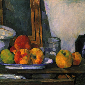 Cezanne still life with open drawer