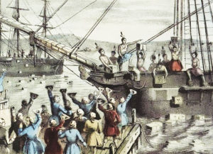 The Destruction of Tea at Boston Harbor, lithograph by Nathaniel Currier, 1846