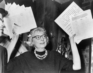 Jane Jacobs at a press conference, 1961.