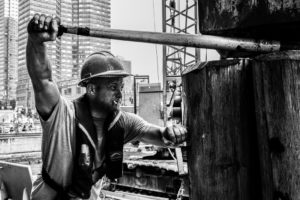"""Allan Michael, """"Pile Driver, 42nd St., NYC"""""""