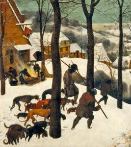 "Bruegel, ""Hunters in the Snow"" detail"